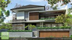 Residential House is part of Sanctuary house - @ Kelapa Gading Indonesia alternative design concept Modern House Facades, Modern Architecture House, Residential Architecture, Architecture Design, Modern Tropical House, Tropical House Design, Tropical Houses, Bungalow House Design, House Front Design