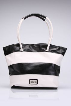 Kenneth Cole Stripe Tote in Black And White