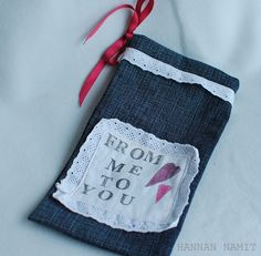 gift bag. old jeans. recycling. sewing.
