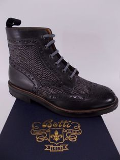 BOTTI scarpa uomo STIVALETTO pelle vitello LANA nero A I tg. 6-7-8½(UK) NIB b33806a02da