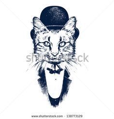 Hand drawn cat - stock vector