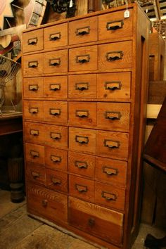 Nice Vintage Fir Library Card Catalog File Cabinet With Original Hardware    Aurora Mills Architectural Salvage