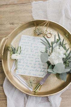 Wedding Styling Ideas Details Decor Planning Advice Flowers Tray Flay Lay Brass Letter Prep http://dyannalamora.com/