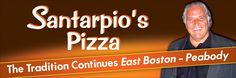 Santarpios Pizza - East Boston - Peabody, MA as seen on Food TV and Travel channels....family-owned restaurant and local favorite.  Delicious pizza and the grilled combo, which includes a grilled lamb skewer, grilled sausage skewer, bread and peppers.