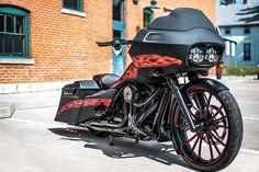 "2013 Road Glide custom bagger ""Fire Shark"" from Bad Dad Custom Baggers. #harleydavidsonroadglideblack"