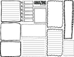 Free printable - hand drawn boxes and journaling spots - I think I will use it as a project life planner page