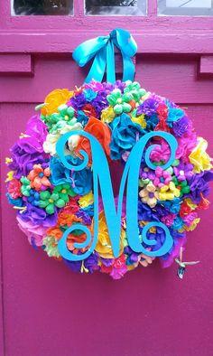 Monogram Initial Mexican Paper Flower Wreath by Bonnieharmsdesigns, $135.00