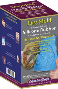 EasyMold Silicone Rubber is ideal for a wide range of mold applications, including Castin'Craft Clear Casting Resin, EasyCast Clear Casting Epoxy, wax, baking chocolates, ice cubes, soap, plaster, air dry clay, concrete and low melt metals!    Easily create blanket, glove or block molds!  Complete instructions and project ideas enclosed.  Ordorless, Non Toxic, FDA Compliant - Food Grade.