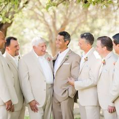 Neutral colored suits at Campovida Family Vineyards in Hopland, CA. Photography by Julie Nicole. More: http://www.theknot.com/weddings/album/a-bright-outdoor-wedding-at-campovida-family-vineyards-in-hopland-california-171952