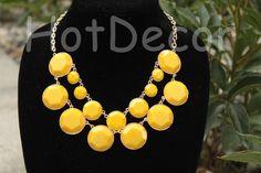 Bubble Necklace Kate Spade Style Yellow Statement necklace jewelry jewlery Bib Necklace Chunky Necklace Choker Necklace Beaded Jewelry on Etsy, $12.99
