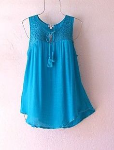 NEW~SPENSE~Turquoise Crochet Lace Peasant Blouse Tank Boho Top~12/14/L/Large