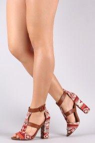 Bamboo Tribal Print Caged Chunky Heel