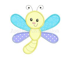 Machine Applique Embroidery Design: This little dragonfly is part of the Bugzee Series so take a look for a collection of matching friends! Embroidery Boutique, Baby Embroidery, Machine Embroidery Applique, Applique Quilts, Hand Embroidery Design Patterns, Applique Patterns, Quilt Patterns, Applique Ideas, Baby Dragonfly