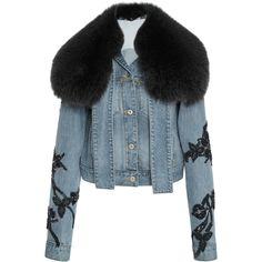 Jonathan Simkhai Embroidered Denim Fur Collar Jacket (46.785 ARS) ❤ liked on Polyvore featuring outerwear, jackets, coats, coats & jackets, denim, blue, embroidered jacket, blue denim jacket, sequin jacket and beaded jacket