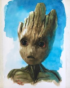 Baby Groot painting by J.D. Knight https://pagez.com/4136/36-rickdiculous-rick-and-morty-facts