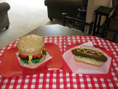 Summer picnic birthday party?  How about  hamburger and hotdog cakes!  Colored frosting, sunflower seeds, middle cake on burger chocolate and not frosted, rolled out fruit chews and candies for condiments, fondont to cover hotdog.