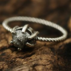 Raw diamond sterling silver ring in prongs setting with oxidized sterling silver twist design band Check more at