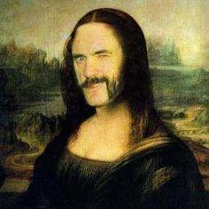 Portrait of Mona Lisa, gobelin in the painting of Leonardo Da Vinci Woodstock, Hard Rock, Metal Meme, Mona Lisa Parody, Mikey, Monalisa, New Wave, Gothic, Thrash Metal
