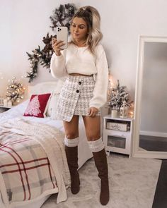 Secure the outfit Shop 'SHEIN Button Front Wrap Tweed Skirt' link in b… – Beauty Coupons Casual Fall Outfits, Winter Fashion Outfits, Fall Winter Outfits, Classy Outfits, Trendy Outfits, Cute Date Outfits, Cute Christmas Outfits, Cute Skirt Outfits, Latest Outfits