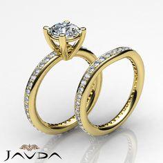Natural Round Diamond Engagement Bridal Set Ring GIA F VS1 14k Yellow Gold 2.76ct