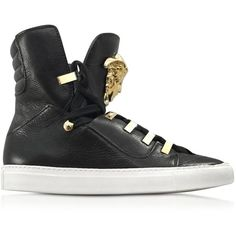 Versace Shoes Black Medusa High-Top Leather Sneaker ($1,240) ❤ liked on Polyvore