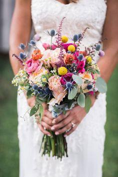Small Town Ranch Wedding via Rocky Mountain Bride | colorful spring wedding bouquet