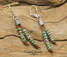 LEATHER DANGLE EARRINGS-Picasso Seed Beads-Leather #jewelrymaking