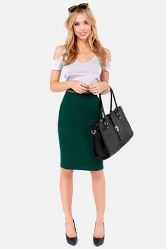 Winter work outfit: green pencil skirt, black turtleneck and ...