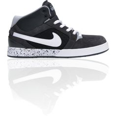 Nike 6.0 Mogan Mid 3 Lunarlon Anthracite, Wolf Grey, White Shoe ($85) ❤ liked on Polyvore