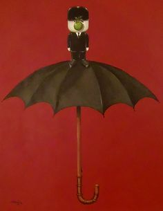I painted this in 2012 as part of the 'Fred' series. Painted with acrylic on canvas in the style of Magritte. The vintage wooden handled umbrella features Fred standing on the top and is entitled 'Fine Realities' as was Magritte's umbrella painting except with a glass of water on top.