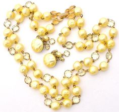 Vintage Yellow Necklace Earrings Set Bead by TheJewelryLadysStore