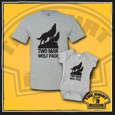"""Two Man Wolf Pack"" Matching Dad and Baby Onesie set are an awesome gift for any new daddy and baby! This makes a great gift for a baby shower, or makes a nice prop for a photoshoot. Of course, dad and baby can always wear them out and about too. This doesn't have to be just for newborns either, it will be just as cute on any younger kid or toddler!"