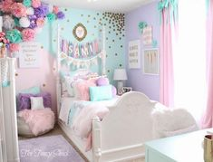 Unicorn bedroom - Sami Says AG & The Fancy Shack Girls Pastel Bedroom Room makeover Pastel Girls Room, Pastel Bedroom, Pastel Room Decor, Colorful Girls Room, Pastel Walls, Pink Aqua Bedroom, Bedroom Ideas Purple, Mint Girls Room, Colourful Bedroom