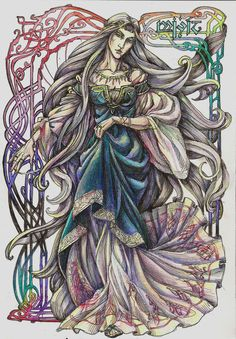 The mistress of an embroidery by Righon on deviantART Miriel Serinde. The first wife of Hight King Finwe Noldoran. The Mother of Feanor