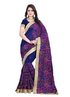 Floral Blue Designer Saree