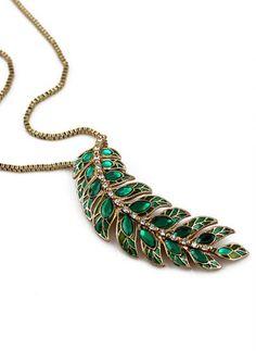 Green Gemstone Gold Leaf Necklace <3