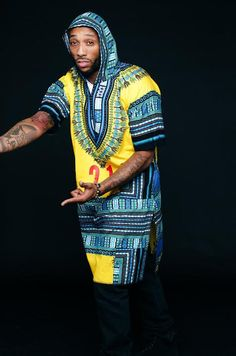 Yellow Hooded w/Blue Trimming (mid length) Dashiki