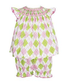 This Green  Pink Argyle Smocked Top  Bloomers - Infant is perfect! #zulilyfinds   nice as a crawler set