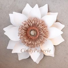 PAPER FLOWERS. Set of 7 blush pink taupe white by cindyPAPERIE