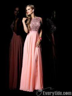Wholesale Modest Bateau A-line Chiffon Sequined Floor-length Pink Prom Dresses