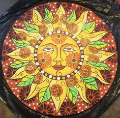 The Sun: Beautiful sun medallion from Lisa V. Good Day Sunshine, Star Cloud, Acrylic Painting For Beginners, Sun Moon Stars, Sun Art, Poster Pictures, Psychedelic Art, Concert Posters, Painted Rocks