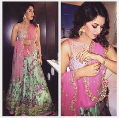 Elegance designs will make you an icon of beauty with this pink hansika floral bollywood lehenga choli. This lehenga is beautified with cute floral printed and patch border work gives striking gaze. It comes with matching choli and dupatta. Floral Lehenga, Bridal Lehenga, Indian Attire, Indian Ethnic Wear, Indian Style, Indian Dresses, Indian Outfits, Indian Clothes, Pakistani Outfits