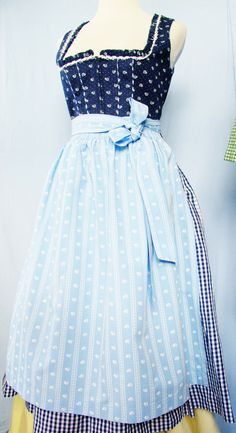 TRACHTEN DIRNDL Dress, Dark Blue, Light Blue Apron, Cotton, Floral, Gingham, Lace, Size 36, US 6, Austrian Style, Bavarian, Country Looks, by AlpineCountryLooks on Etsy