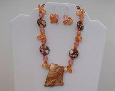 Orange Burst Necklace & Earrings set: Orange Imperial Jasper pendant, Amber Crackle Nuggets, Rose Quartz, Shell and Agate Chips - Edit Listing - Etsy