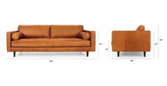 There's a reason this is our most popular sofa. This modern take on a mid-century classic features clean lines, a tufted benchseat, and two luxuriously stuffed back cushions. Two matching round bolsters complete the look. Natural color variations, wrinkles and creases are part of the unique characteristics of this leather and it will develop a vintage slouchy look with regular use.