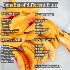 Benefits of different fruits for healthy skin, hair, heart & lungs Healthy Fruits, Healthy Drinks, Get Healthy, Healthy Tips, Healthy Hair, Healthy Snacks, Healthy Eating, Healthy Recipes, Detox Drinks