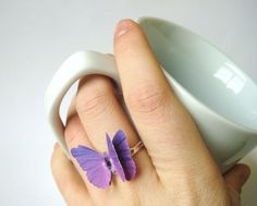 Ombre Jewelry Plum Purple Jewelry Ombre Ring by SpotLightJewelry Purple Rings, Purple Jewelry, Silver Jewelry, Butterfly Ring, Butterfly Jewelry, Butterfly Gifts, Purple Butterfly, Jewelry Rings, Jewellery Earrings