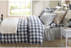 Forget bargain hunting. Budget $200 and have the perfect winter bed. Duvet (plaid; remember ours is only a queen), sheets (stripe), and pillow cases (plaid w/ monogram and stripe).