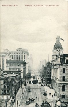 """Vancouver, B. C. Granville Street looking South""  Granville Street looking south from the second CPR Station (1899-1914) on Cordova Street in Vancouver, BC. Note the Rogers Building (built 1911-12) under construction (center left) as well as the second CPR Hotel Vancouver (built 1912-16) in the distance on the right."