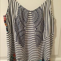 CAbi Boho Top NWOT -- brand new/never worn. Style# 796. Great little top from a few seasons ago that I just never got a chance to wear! Perfect for Spring and Summer and has a great little Boho vibe! Feel free to make me an offer :) CAbi Tops Tank Tops